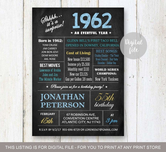 Surprise 55th Birthday Invitations Chalkboard 65th birthday – 65th Birthday Invitations