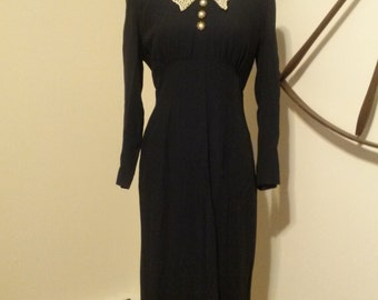 Vintage Datiani Navy Blue Lace Collar Dress