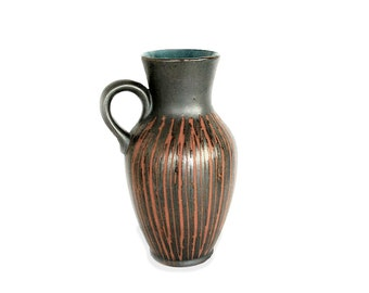 Carstens West German vase - black, green and orange