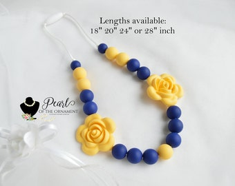 silicone teething necklace nursing necklace sensory necklace yellow navy blue flower chew bite necklace chewelry girl mom baby shower autism