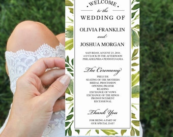 Wedding Program - 4x8 Wedding Program Template - Editable Wedding Program - Simple Greens DIY Program - Ceremony Program - Instant Download