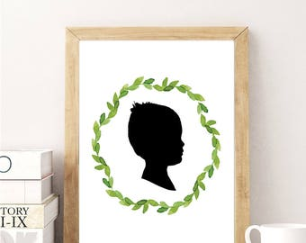 Custom Child Wreath Silhouette Image // Customizable Nursery Silhouette // Nursery Custom Child Graphic Design Wreath