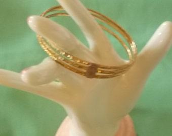 Gold Filled Vintage Triple Bangle Bracelet