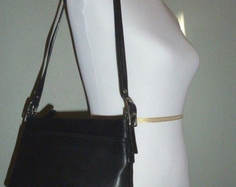 Coach black leather purse, 9861,bag, Classic Black Glove-Tanned Leather ,Shoulder Bag ,Purses