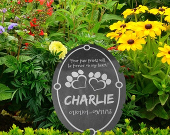 Granite Pet Memorial in Various Sizes and Shapes-- Customize for your Pet! (Paw Prints on My Heart)