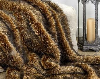 Luxurious Arctic Fox Faux Fur Throw Blanket  - Golden Brown  Desert Fox - Silky Soft Minky Cuddle Fur Back - Fur Accents Designs USA