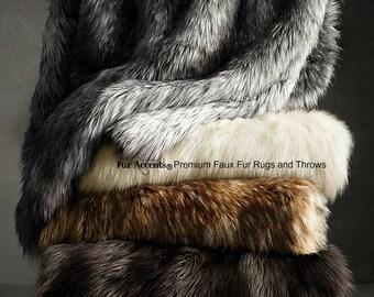 Luxurious Faux Fur Throw Blanket  - Polar Bear - Brown Wolf - Gray Lynx - Chinchilla Stripe - Silky Soft Minky Cuddle Fur Back - Accents USA