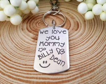 We love you Mommy Engraved Key Chain with Kids Names | Gift for Mom | Gift from Kids | Choose a Phrase or use your own for the back