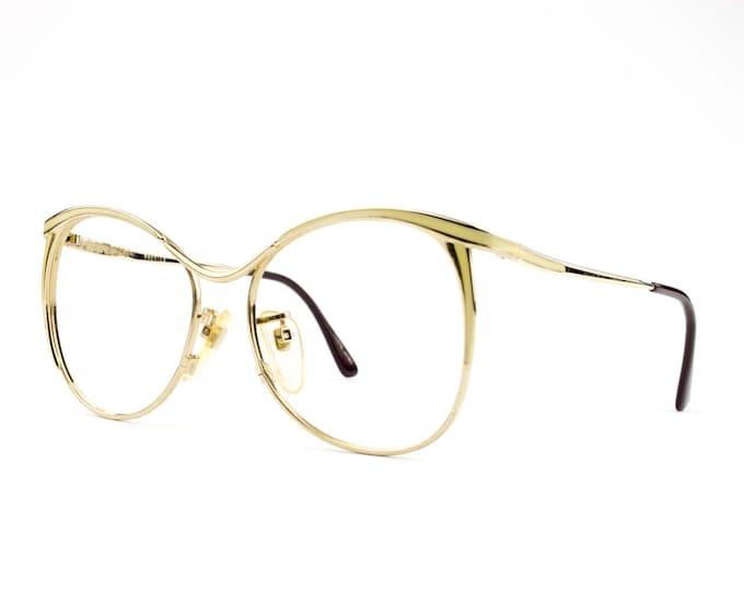 Vintage Eyeglasses   1980s Oversized Round Glasses   80s Gold and Cream Eyeglass Frame  NOS Deadstock Eyewear -Margaret