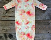 organic newborn gown, newborn gown, baby girl gown, floral newborn, pink newborn gown, organic baby clothes, natural baby clothes