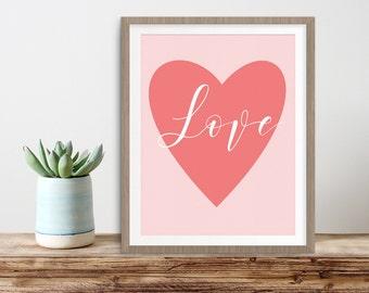 Love Print, Teen Girl, Digital Print, Heart Print