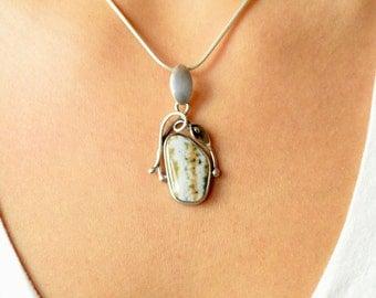 Pixels Ocean Jasper Pendant // Ocean Jasper Jewelry // Sterling Silver // Village Silversmith