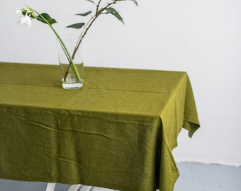FREE SHIPPING | Washed linen moss green color tablecloth, Soft linen tablecloth, Rustic linen tablecloth, Natural linen tablecloth