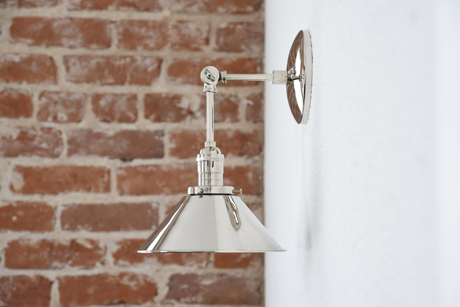 Modern Ridged Shade Bath Sconce 2 Light: Polished Nickel Wall Sconce Metal Shade Vanity Mid Century