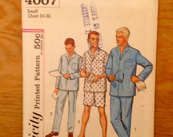 1960 men's pajama pattern Simplicity 4007 size small, chest 36, short average tall fit, Factory Fold, long or short pjs, OOP vintage supply
