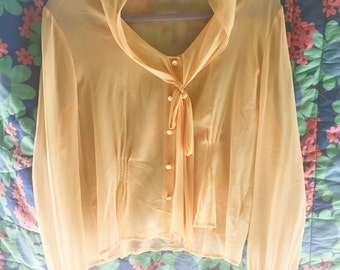 """VTG Sheer Light Pink Button Up with """"Bow"""" Tie"""