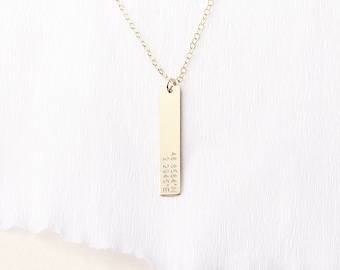Coordinates bar necklace - vertical bar necklace - personalised wedding gift - gift for her - long gold bar necklace
