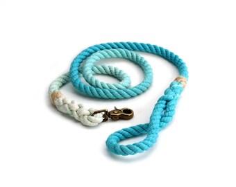 4 FT Aqua Ombre Rope Dog Leash