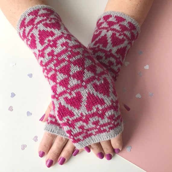 Knitted arm warmers ladies knitted heart wrist warmers knit