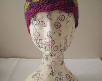 Crocheted Rainbow Beanie