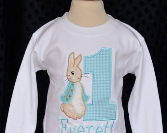 Personalized Birthday Bunny Rabbit Applique Shirt or Onesie Girl or Boy