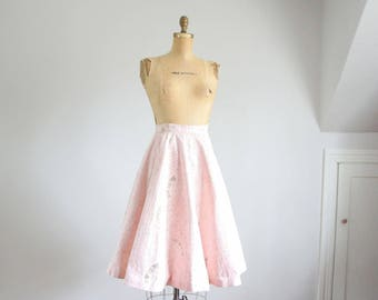 50s petal pink and gold print circle skirt