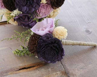 Plum, Lavender, Brown, & Champagne Peti Sola Flower Bouquet, Plum Bridesmaid Bouquet, Plum Flower Girl Bouquet, Plum and Lavender Bouquet