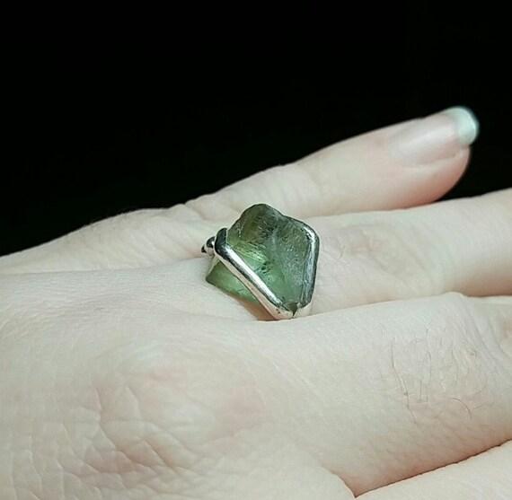 Raw Peridot Ring | Raw Stone Ring | Sterling Silver Ring Sz. 8.25 | Raw Crystal Ring | Raw Crystal Rings | Rough Gemstone Ring | Rough Stone