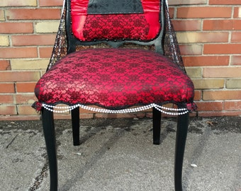 Accent Chair - Burlesque - Unique Furniture - Red and Black - Black Lace Chair - Red Satin - Pearl and Lace Accent Chair