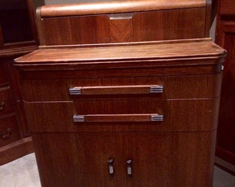 Hamilton Dental / Medical Cabinet Art Deco Wood Cabinet / Donald Deskey Design