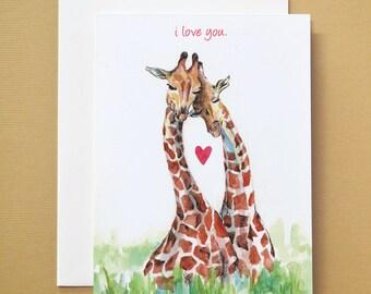 I love you Giraffe Watercolor Card Handmade