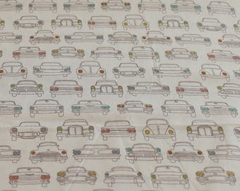 Car Crib Sheet - Organic Baby Bedding - Vintage Car Nursery - Travel Nursery - Birch Fabrics Headlamps - Boy Nursery - Automobile Crib Sheet