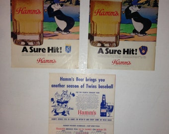 3, ORIGINAL, Hamms beer baseball Ads