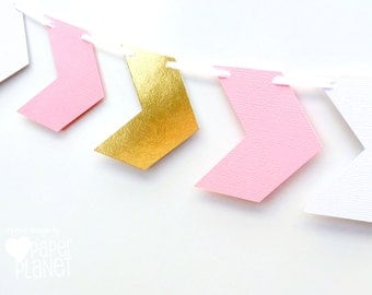 Chevron banner. Pink with white and gold. Photo Prop, Birthday party garland, bunting, baby shower. Boho Tribal Wilderness party. Wild One.