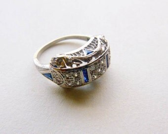 Edwardian to Art Deco platinum filigree pave diamond and sapphire antique engagement anniversary ring size 5.75