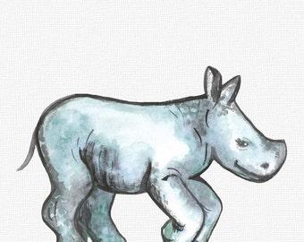 Whimsical Rhino Canvas (custom size) - blue green teal turquoise gray watercolor gouache Rhinoceros print