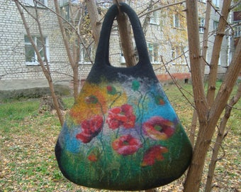 Big black felt shoulder bag Felted red poppies Wool painting Shoulder handbag with poppy OOAK Flower bags Mother's day gift for mom