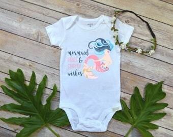 Mermaid shirt, Baby Girl Gift, Niece Gift, Mermaid Kisses and Starfish Wishes, Mermaid Party, Mermaid Birthday, Baby Shower Gift, Girl gift