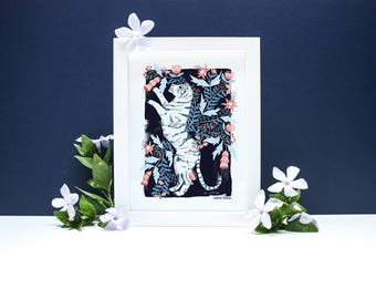 Floral Tiger - A4 or A3 Artists Print
