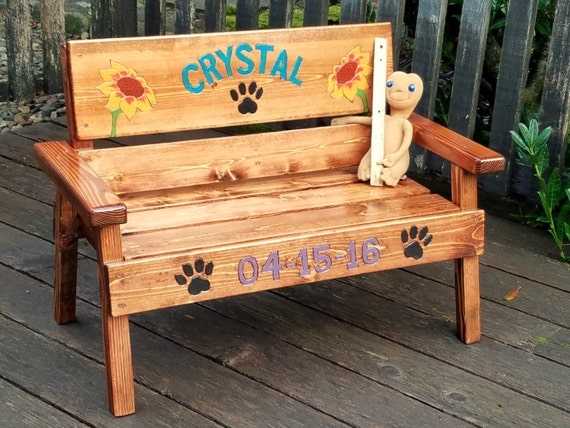 Pet memorial bench personalized dog cat wood furniture