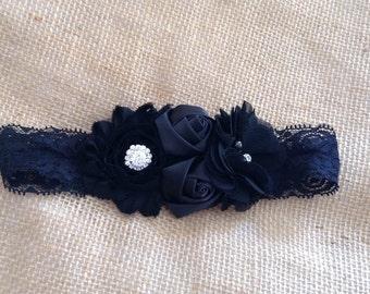 Black Couture garter- Newborn/baby couture black headband