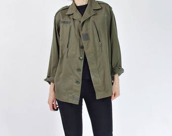 1995 J. Veyrier French Army Urban Vagabond Distressed Bomber Jacket / Men size S/M / Women L or oversized