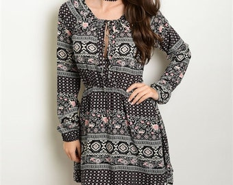 Black and White Dress Printed Dress Tie-Front Long Sleeve Dress Long Sleeve Elastic Waist Dress Black and White Print FREE U.S. SHIPPING