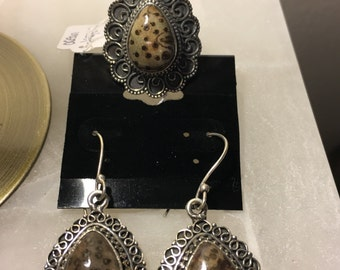 Leopard Skin Jasper Vintage Style Earrings 925 Sterling Silver and Matching Ring