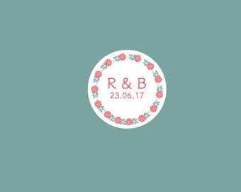 35 Personalised stickers. Perfect for parties and weddings.