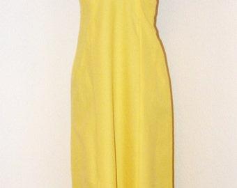 Vintage 1970s Long Yellow Halter Top Dress
