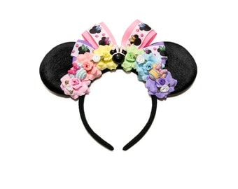 Easter Mouse Ears Headband, Floral Mouse Ears, Flower Mouse Ears, Easter Headband, Flower Headband, Floral Headband, Easter Outfit