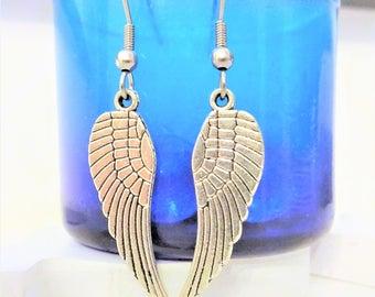 ANGEL WING EARRINGS - surgical stainless steel ear wires - hypoallergenic, sensitive ears earring wires