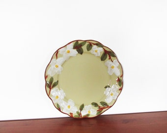 """Stangl White Dogwood 12"""" Round Crimped Chop Plate"""