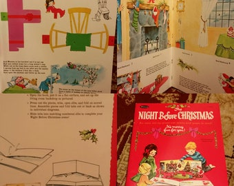 1968 Whitman The Night Before Christmas Press-Out Scene & Poem NOS